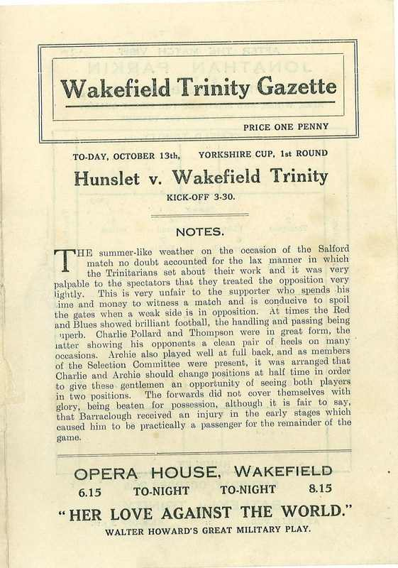 13 Oct 1923 Trinity v Hunslet front cover