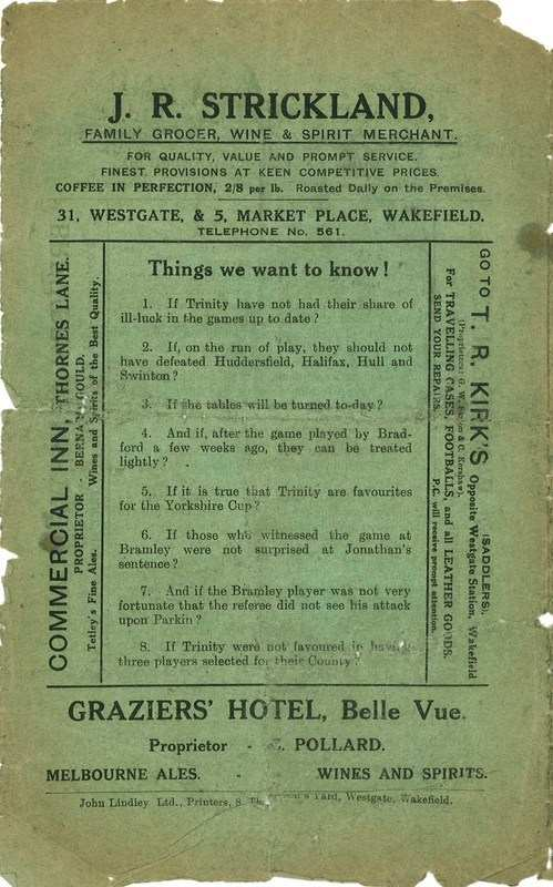 9th Oct 1926 Trinity v Bradford Northern back cover