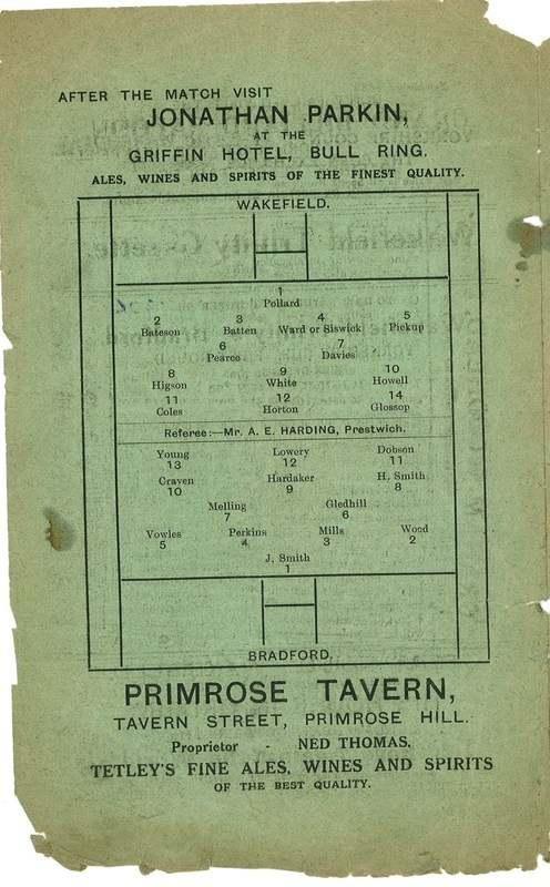 9th Oct 1926 Trinity v Bradford Northern centre page left