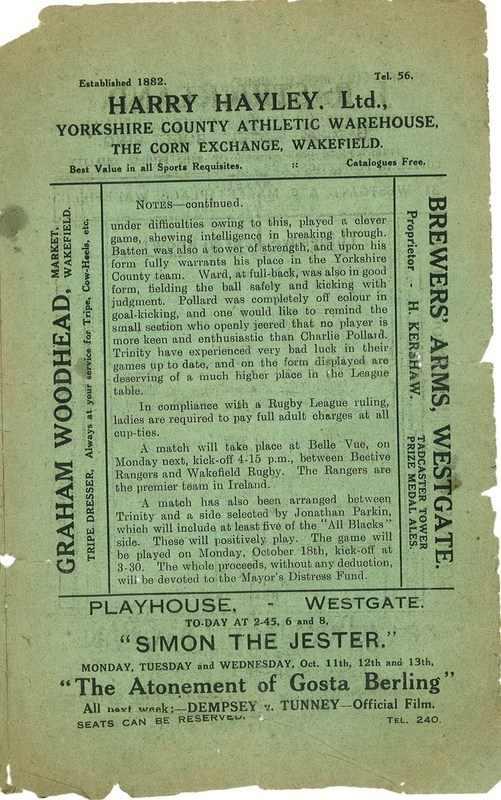 9th Oct 1926 Trinity v Bradford Northern centre page right
