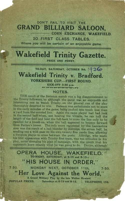 9th Oct 1926 Trinity v Bradford Northern front cover