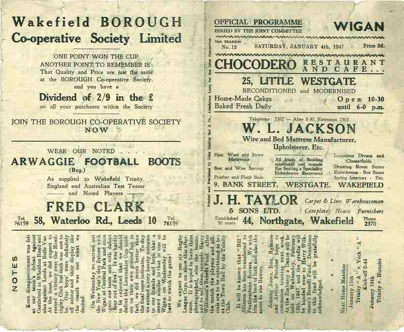 4th Jan 1947 Trinity v Wigan front
