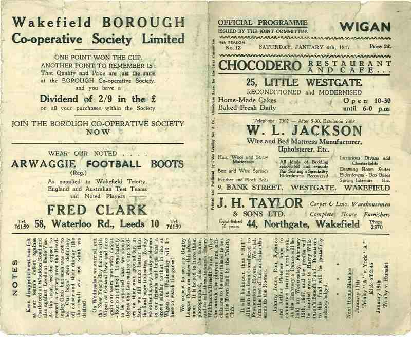 4th Jan 1947 Trinity v Wigan front
