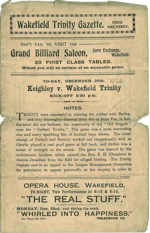 20th Dec 1924 Trinity v Keighley front page