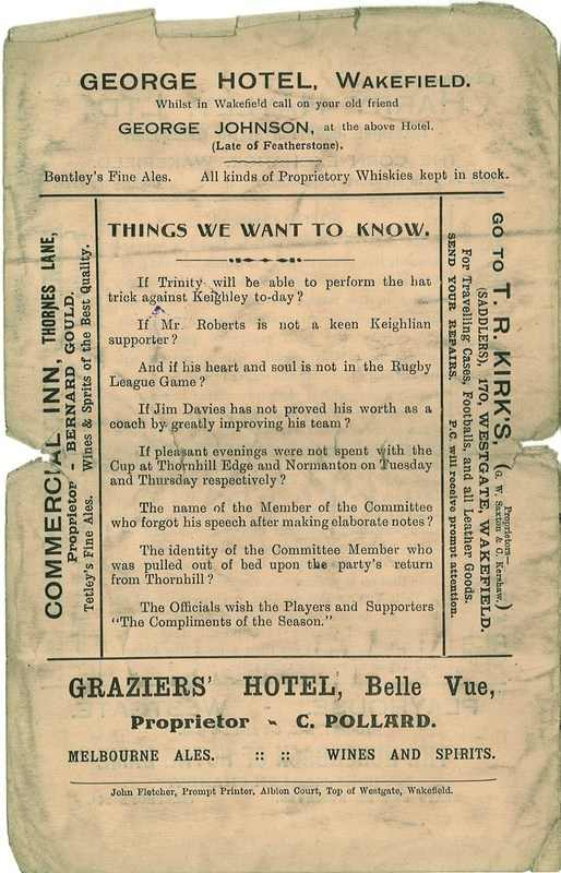 20th Dec 1924 Trinity v Keighley back page