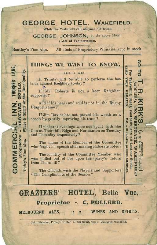 20th Dec 1924 Trinity v Keighley back page