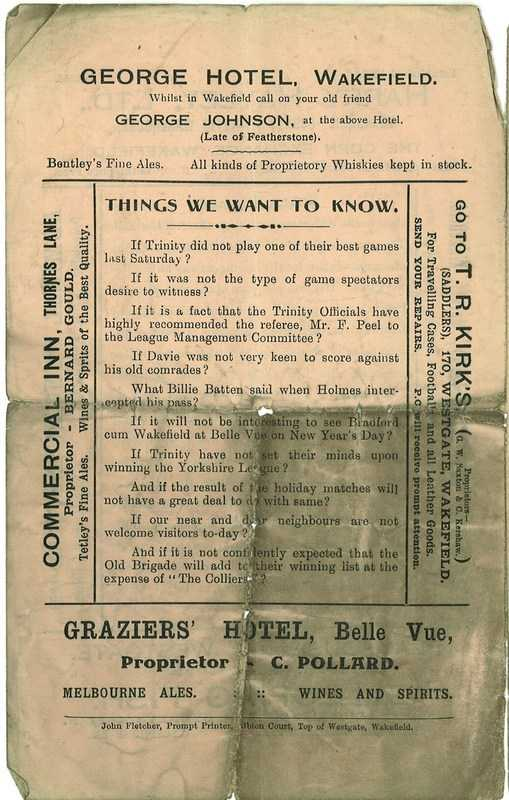 26th Dec 1924 Trinity v Featherstone back cover