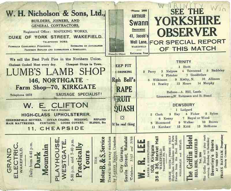 25th August 1945 Wakefield v Dewsbury centre page