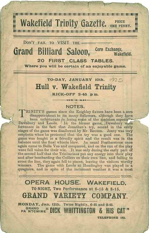 10th Jan 1925 Trinity v Hull front page