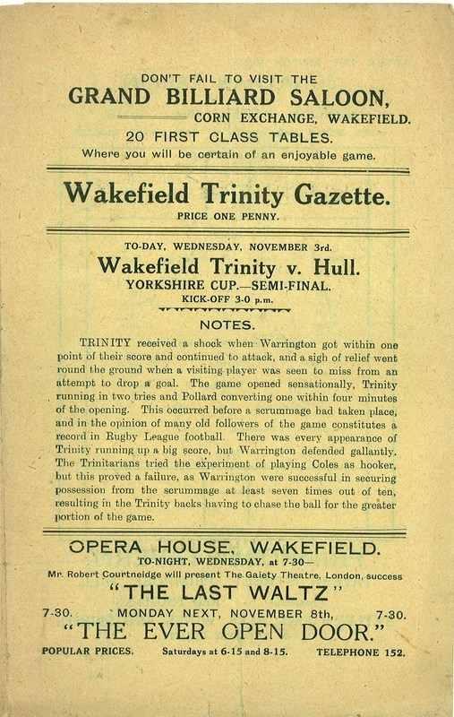 3rd November  1926  Wakefield v Hull front page