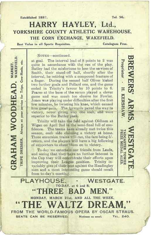 19th March 1927 Trinity v Leeds centre right