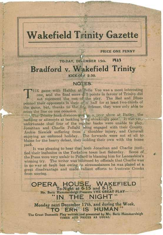 15th Dec 1923 Trinity v Bradford Northern front cover