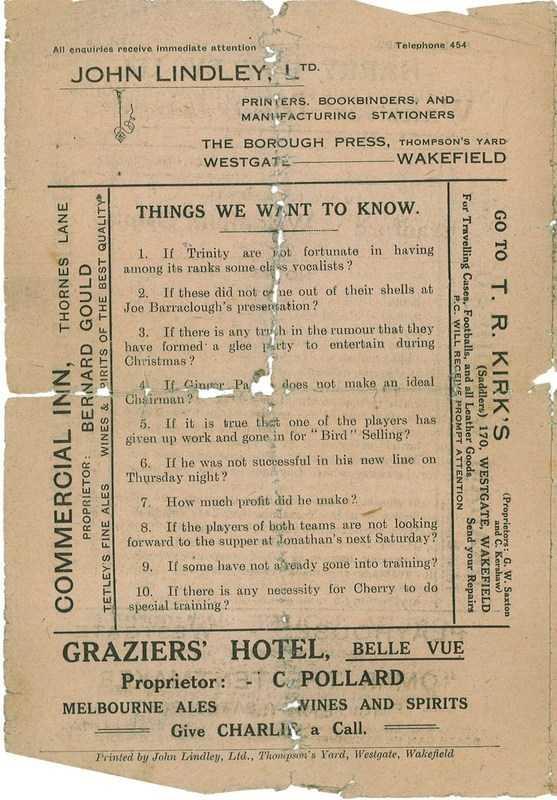 15th Dec 1923 Trinity v Bradford Northern back cover