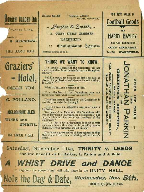 7th October 1922 Wakefield Trinity  v Rochdale back cover