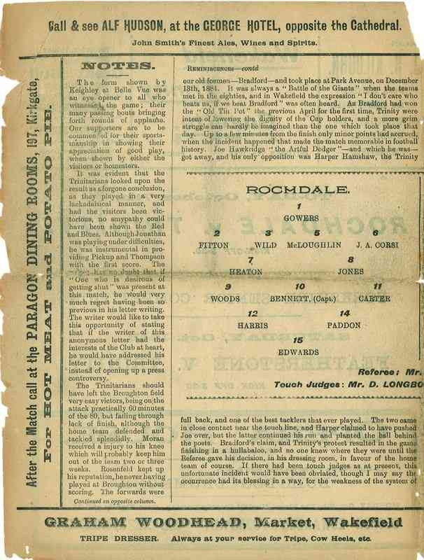 7th October 1922 Wakefield Trinity  v Rochdale centre left
