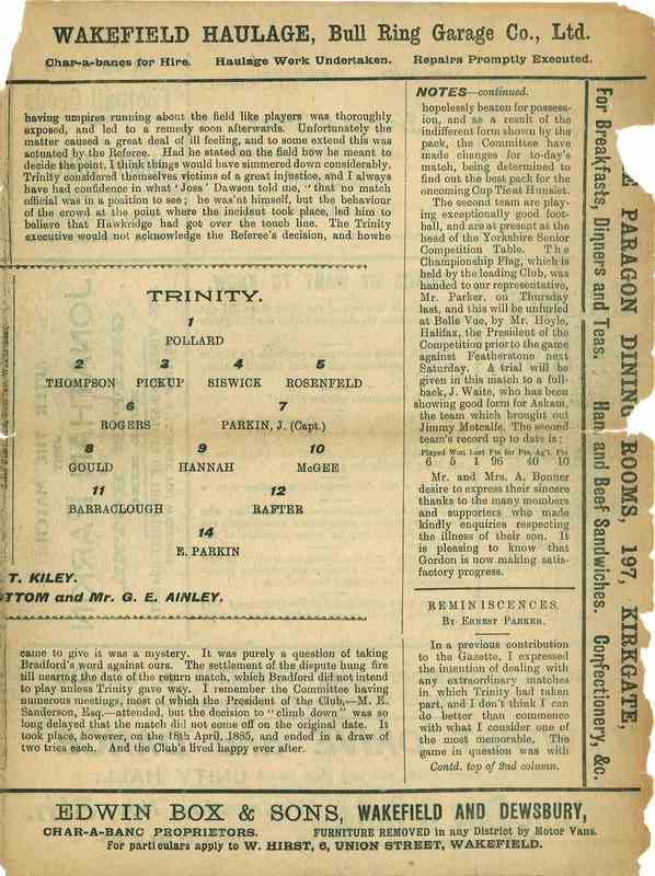 7th October 1922 Wakefield Trinity  v Rochdale centre right