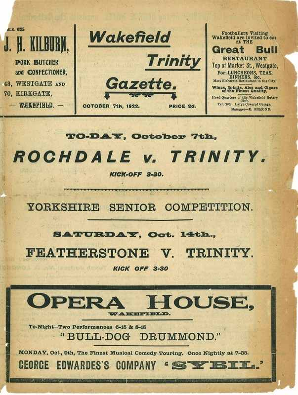 7th October 1922 Wakefield Trinity  v Rochdale front cover