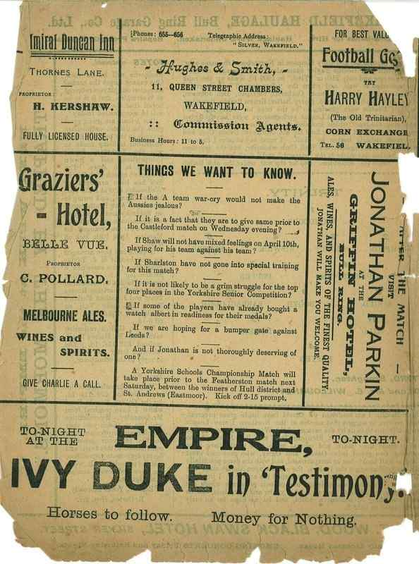 1st April  1922 Wakefield Trinity  v Warrington back cover