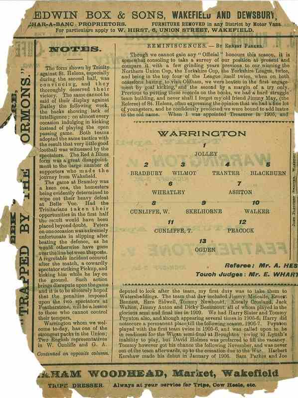1st April  1922 Wakefield Trinity  v Warrington centre left