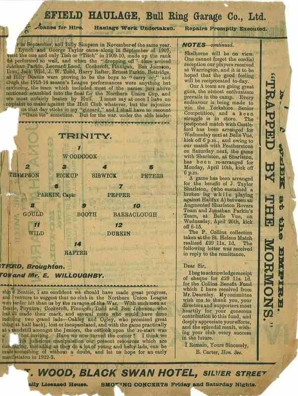 1st April  1922 Wakefield Trinity  v Warrington centre right