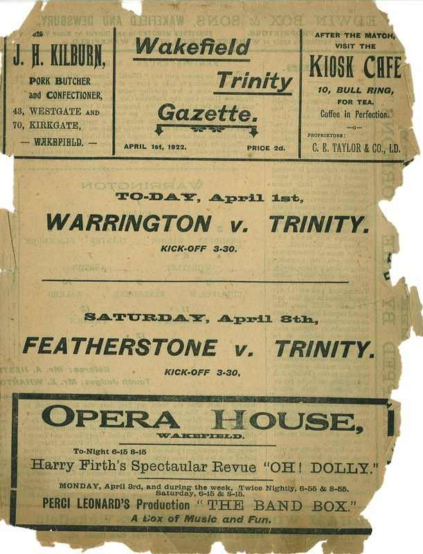 1st April  1922 Wakefield Trinity  v Warrington front cover