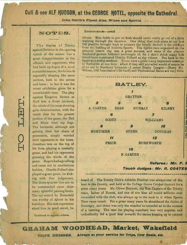 9th September 1922 Wakefield Trinity  v Batley centre left