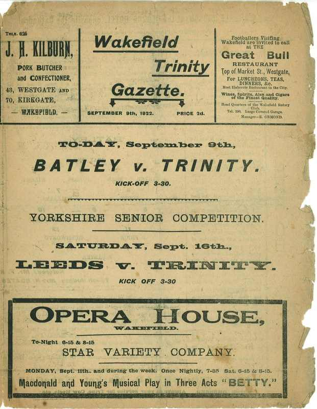 9th September 1922 Wakefield Trinity  v Batley front cover