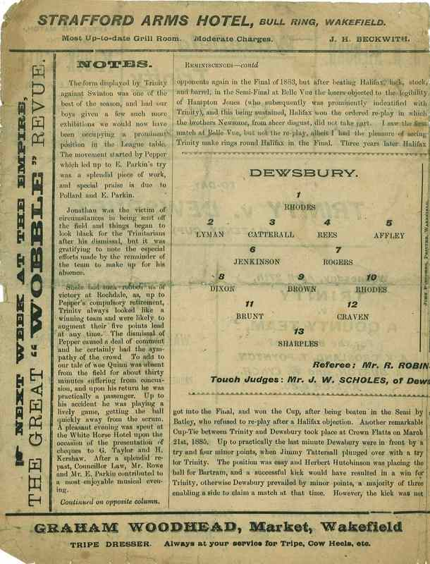 23rd April 1921 Wakefield Trinity  v Dewsbury centre left