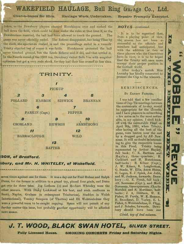 23rd April 1921 Wakefield Trinity  v Dewsbury centre right