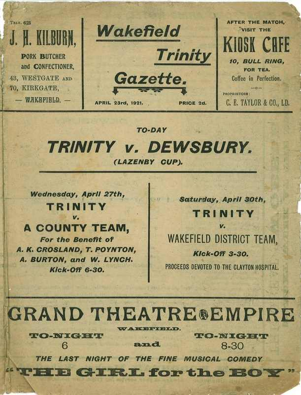 23rd April 1921 Wakefield Trinity  v Dewsbury front cover