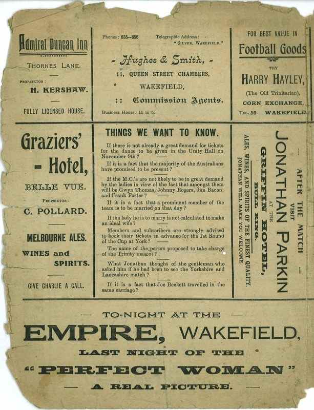 8th October 1921 Trinity v Batley back cover