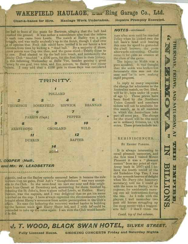 8th October 1921 Trinity v Batley centre right