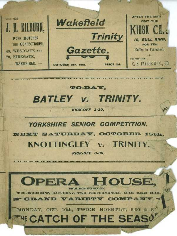 8th October 1921 Trinity v Batley front cover