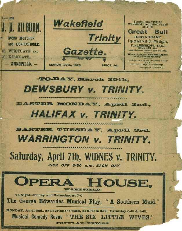 30th March 1923 Trinity v Dewsbury front cover