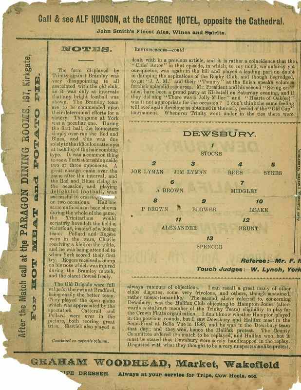 30th March 1923 Trinity v Dewsbury centre left
