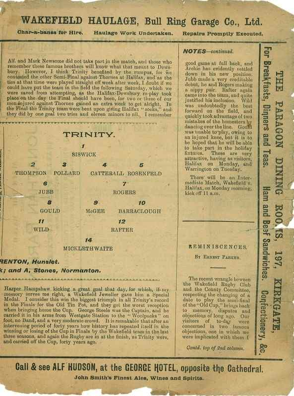 30th March 1923 Trinity v Dewsbury centre right