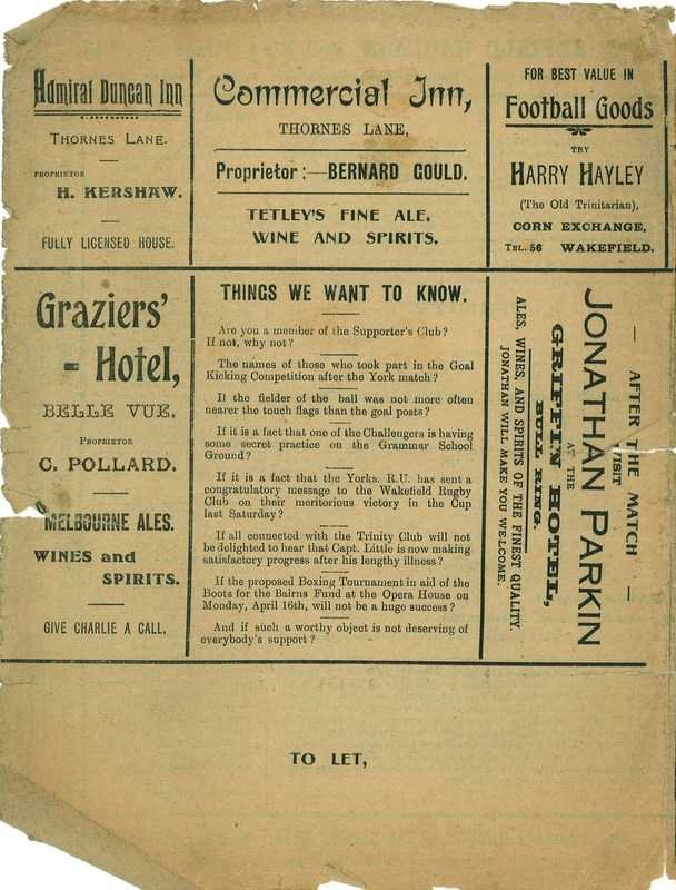 30th March 1923 Trinity v Dewsbury back cover