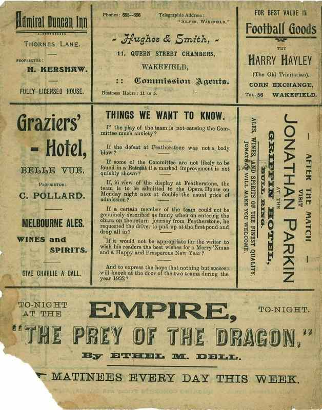 26th December 1921 Wakefield Trinity  v Dewsbury back cover
