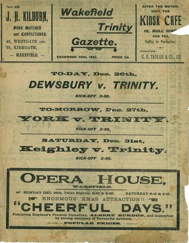 26th December 1921 Wakefield Trinity  v Dewsbury front cover