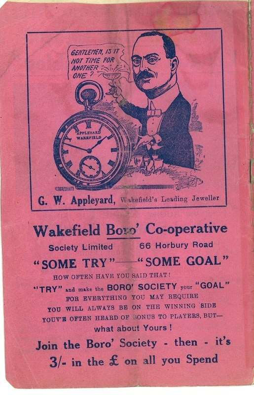4th May 1938 Wakefield v Newcastle back cover