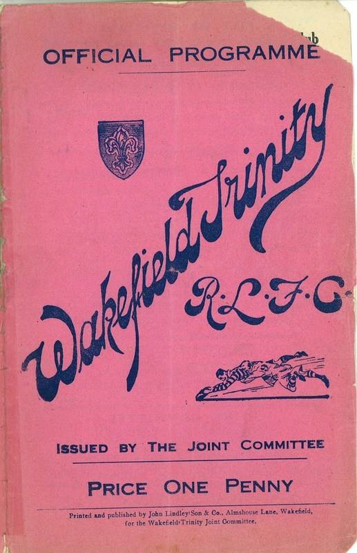 4th May 1938 Wakefield v Newcastle front cover