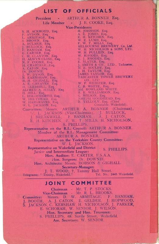 4th May 1938 Wakefield v Newcastle inside front cover