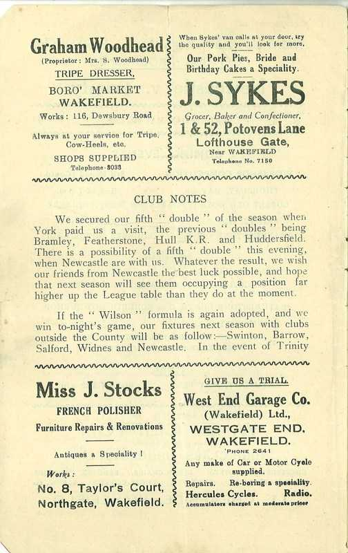 4th May 1938 Wakefield v Newcastle page 2