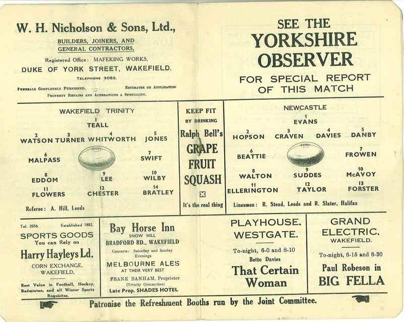 4th May 1938 Wakefield v Newcastle page 6 and 7