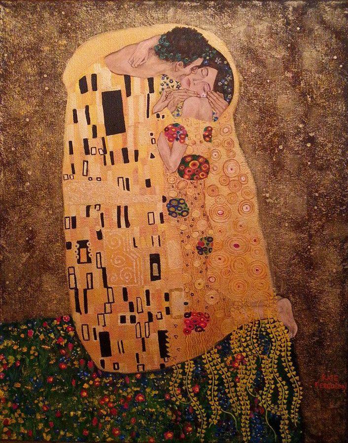 Acrylics - my version of Gustav Klimt's 'Kiss' - private artwork