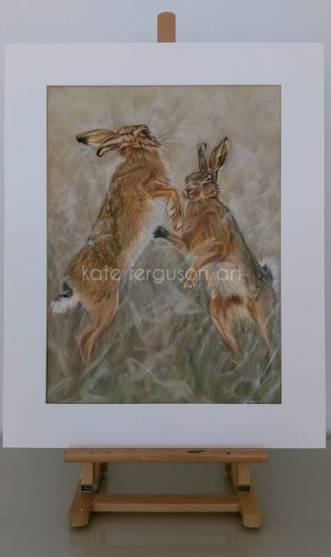 Boxing hares - pastels