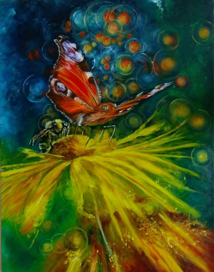 Butterflies and bees - acrylics on canvas
