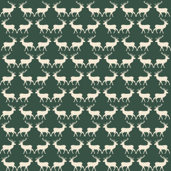 Riley Blake Fabric ~ Postcards for Santa ~ Deer Green