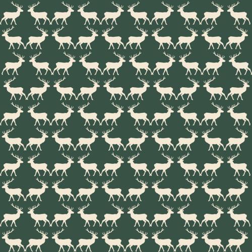Riley Blake Fabric ~ Postcards for Santa ~ Deer Green