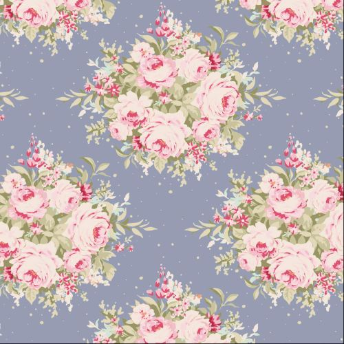 Tilda Fabric ~ Floribunda Slate Blue